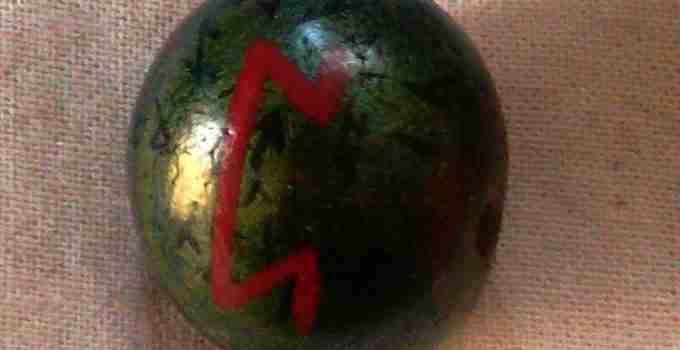 Painted Perthro rune stone
